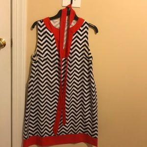 Chevron red black and white dress with waist tie